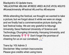 blackpink Korea university festival ipselenti 2018 photo instagram english trans