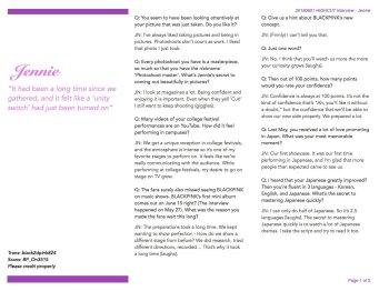 BLACKPINK Jennie Interview HIGH CUT Magazine Korea English Translation