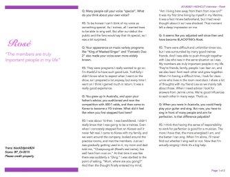 BLACKPINK Rose Interview HIGH CUT Magazine Korea English Translation