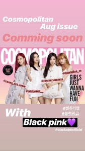 BLACKPINK Cosmopolitan korea Magazine Instagram story