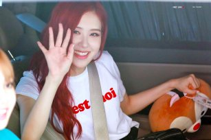Blackpink Rose car photos leaving Inkigayo 8 July 2018 white tshirt 3
