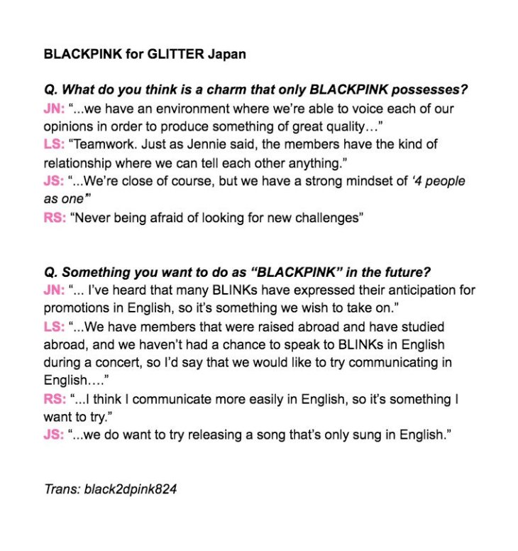 1-English Translation BLACKPINK GLITTER Magazine Japan Interview