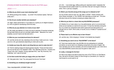 3-English Translation BLACKPINK Jisoo GLITTER Magazine Japan Interview