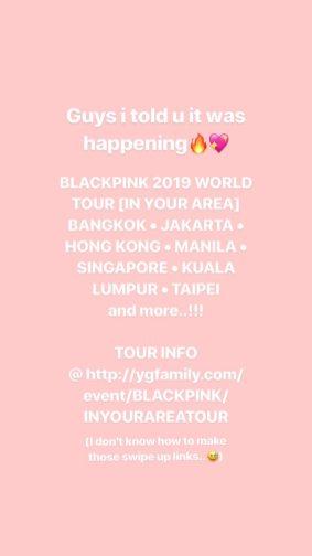BLACKPINK Rose Instagram Story 1 November 2018 World Tour