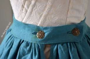 linen blue skirt buttons