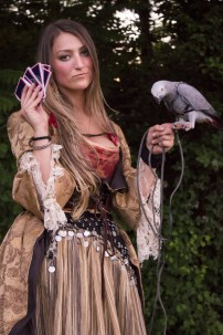 pirate gown and parrot