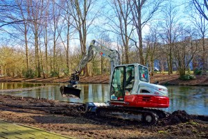 digging trench with mini excavator