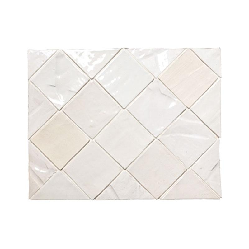 4 x 4 field tile mixed white glazes textured