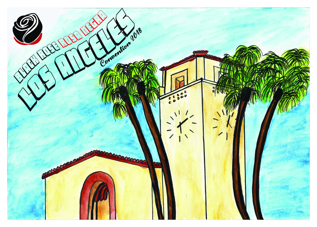 "Illustration with ink and water colors showing LA's iconic Union Station. Corner has logo and text ""Black Rose Rosa Negra Los Angeles convention 2018"""