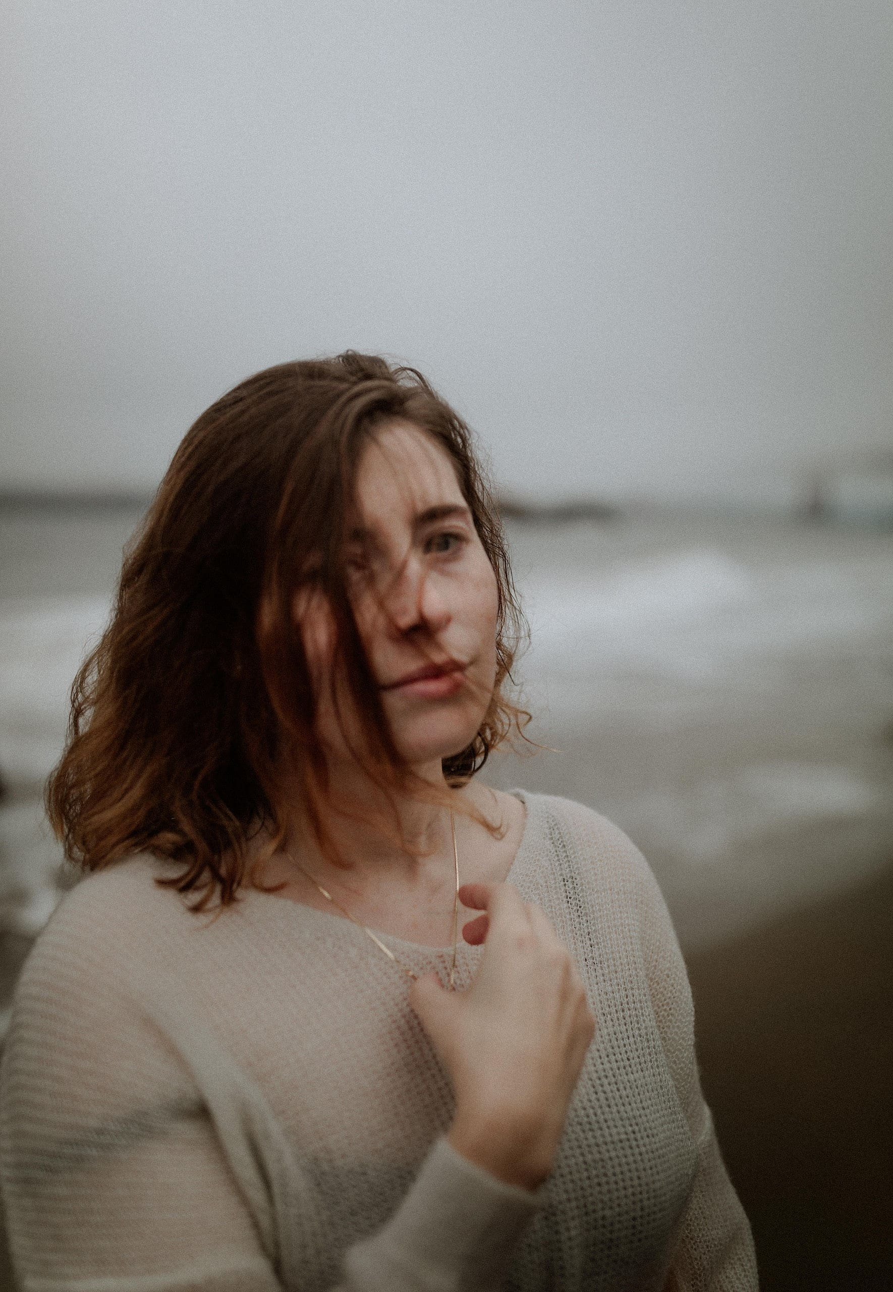 Early foggy morning at Baker Beach San Francisco moody bridal portraits by Las vegas elopement photographer