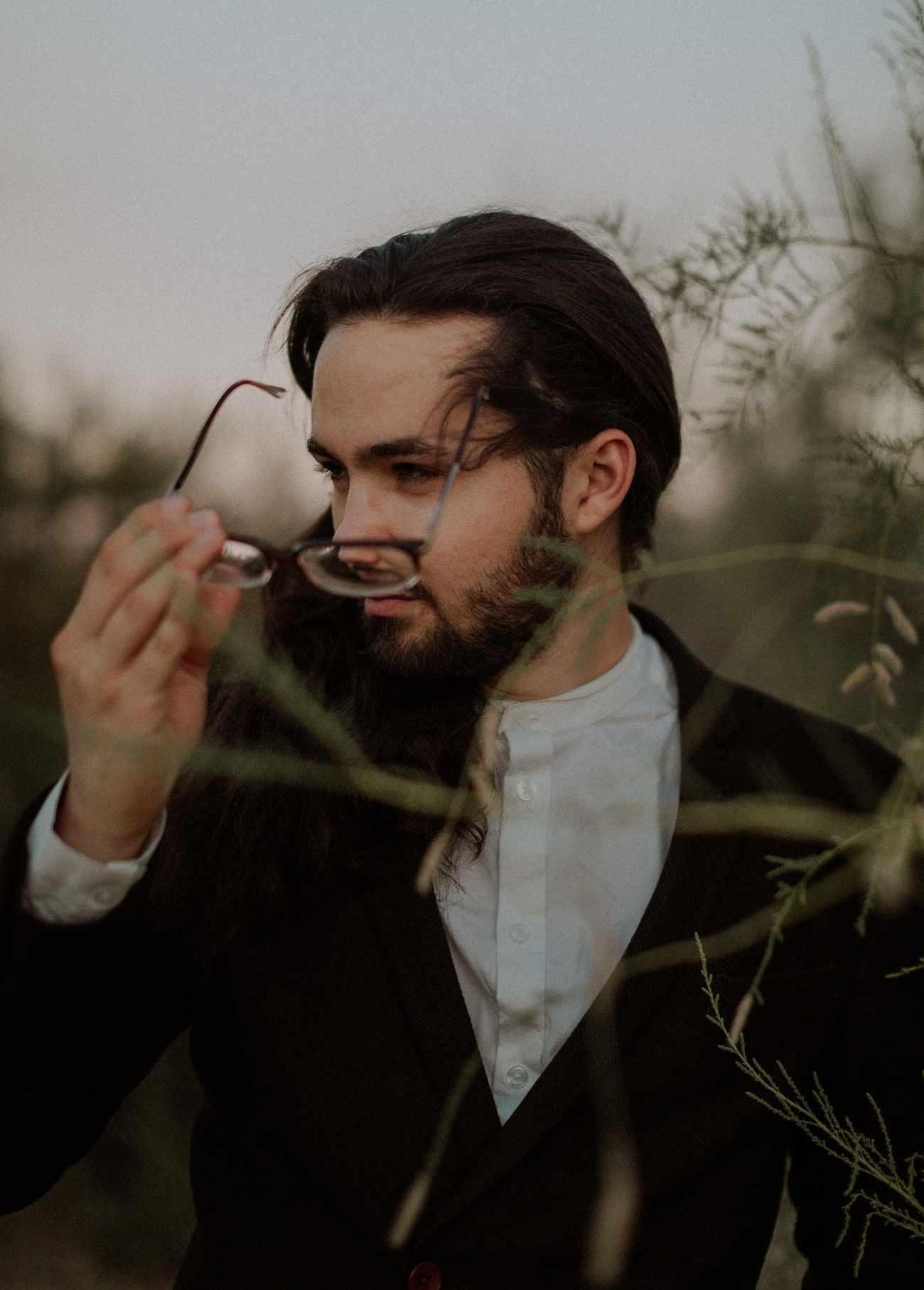 Moody groom portraits las vegas elopement photographer