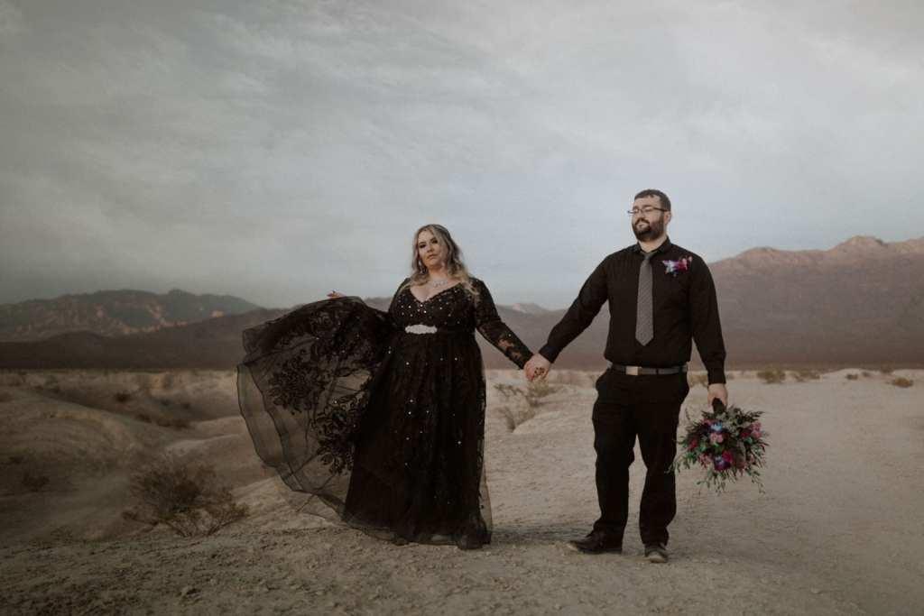 Las Vegas elopement at the Fossil Grounds black wedding dress