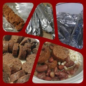 Vegan red beans and vegan sausages by Deborrah Cooper