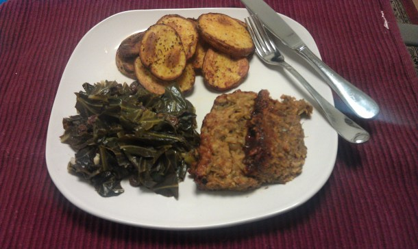 Roasted Red Potato Slices, Citrus Collard Greens, and Spicy Lentil Loaf - BlacksGoingVegan.Com