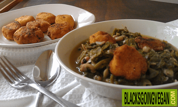 greens, black eyed peas, and hot water vegan cornbread