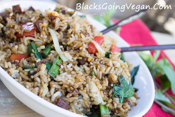 Vegan Spicy Thai Basil Fried Rice With Chicken Seitan