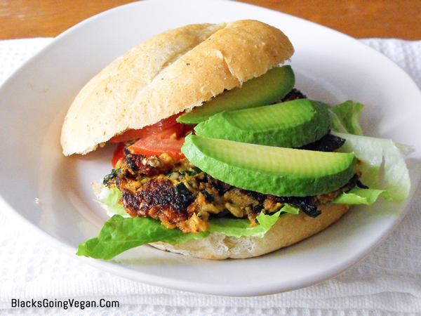 the finished product black bean burger