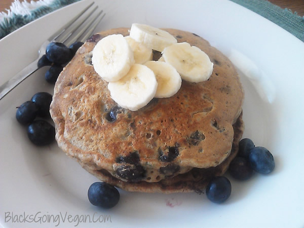 vegan whole wheat blueberry banana and walnut pancakes