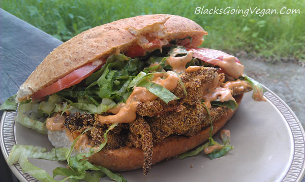 vegan new orleans style cajun po boy sandwich recipe using oyster mushrooms