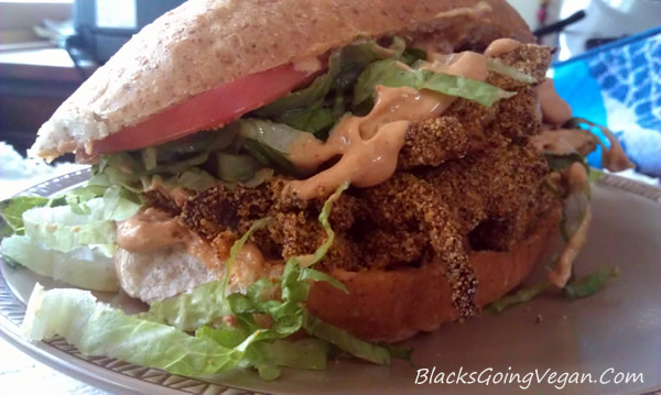 good eating vegan po boy sandwich made with oyster mushrooms and vegan remoulade