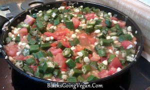 okra corn and tomatoes vegan vegetarian recipe okra recipe