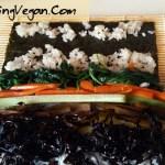 rolling your vegan kimbap instructions