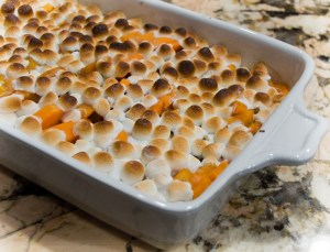 Candied vegan yams with marshmallow