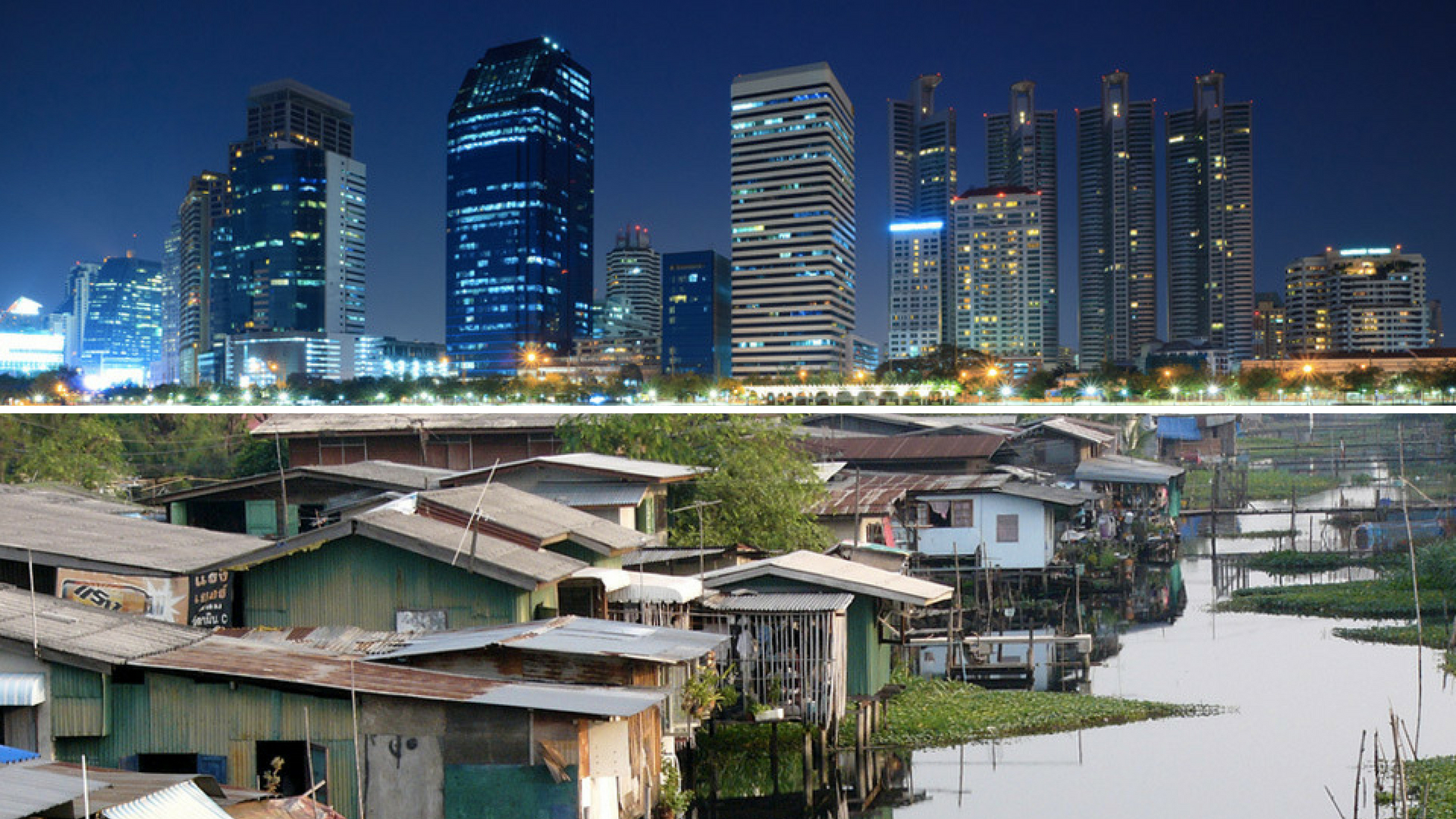 2 pic of Bangkok: the new/rich part of the city and the old/poor one