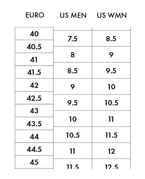 Scarpa Sizing Chart