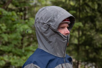 shows side view of the Norrona gore-tex pro jacket hood
