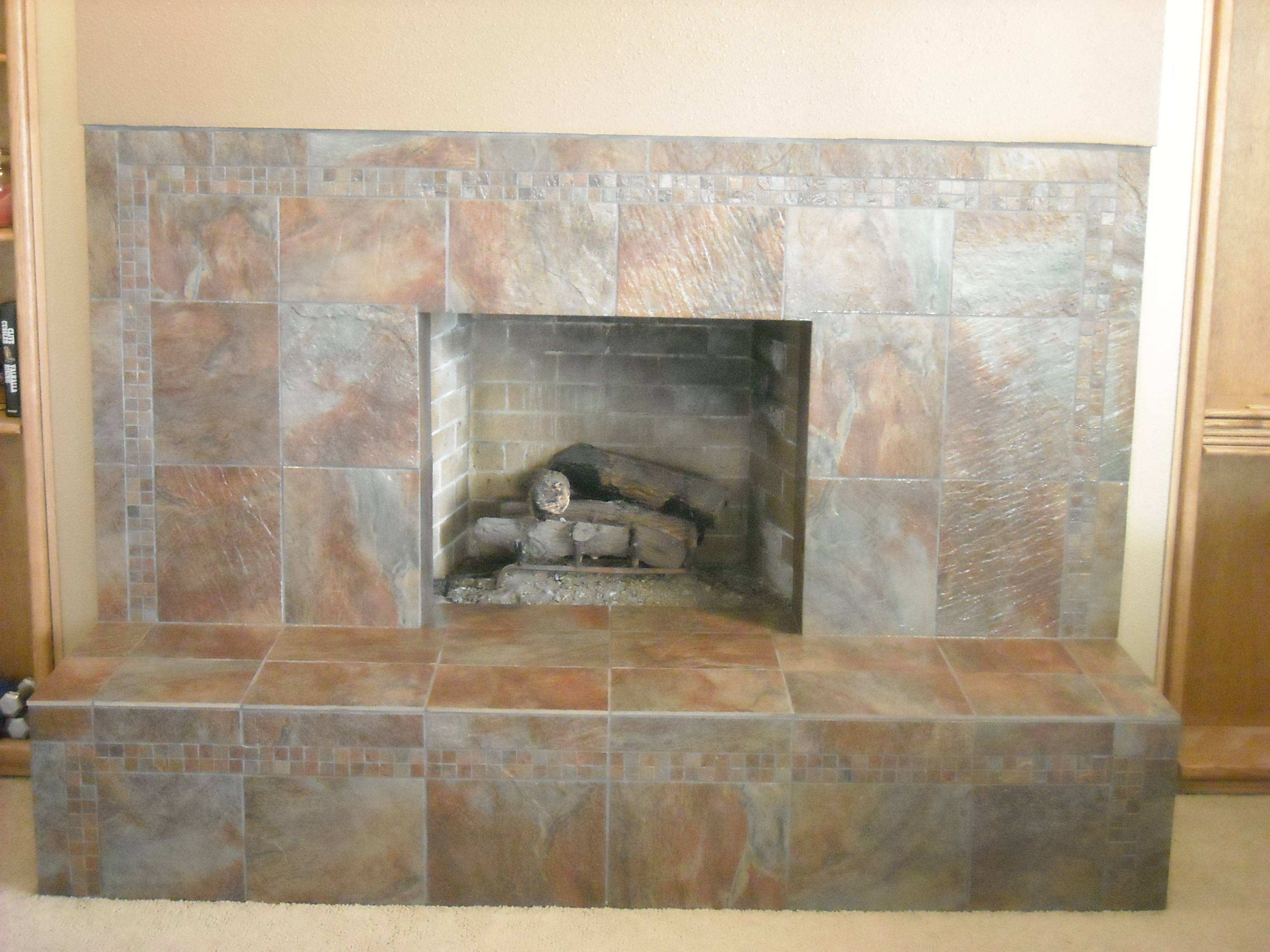 slate tile fireplace rhone design
