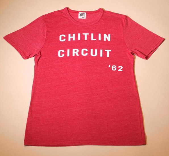 "Father's Day Gift. The t-shirt is red with white lettering that reads: ""Chitlin' Circuit '62""."