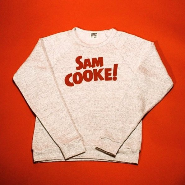 "Father's Day Gift. This grey crewneck with red lettering reads: ""Sam Cooke""."