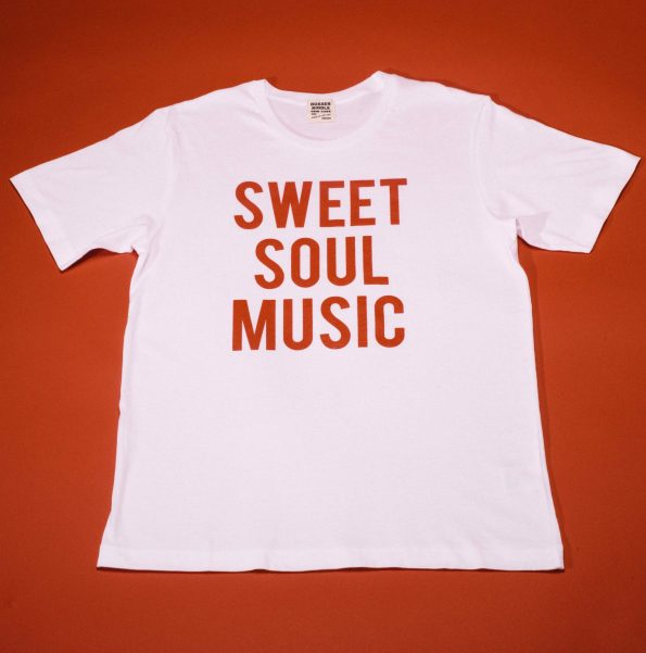 Father's Day Gift. This white t-shirt has red lettering that reads: Sweet Soul Music.