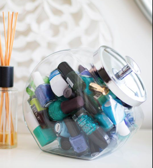 Nail-products-in-cookie-jar- 5 Tips for Styling Your Vanity from the Founder of  Alodia Hair Care