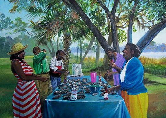 Gullah_Oyster_Roast Summer Seafood and African American Art - 5 Decor Pieces for the Foodie
