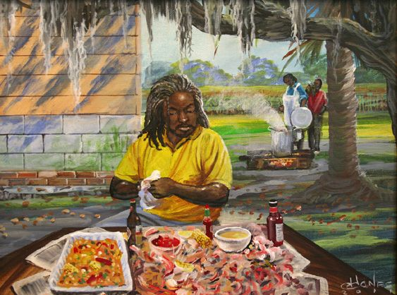 Lowcountry_Boil_Stew Summer Seafood and African American Art - 5 Decor Pieces for the Foodie