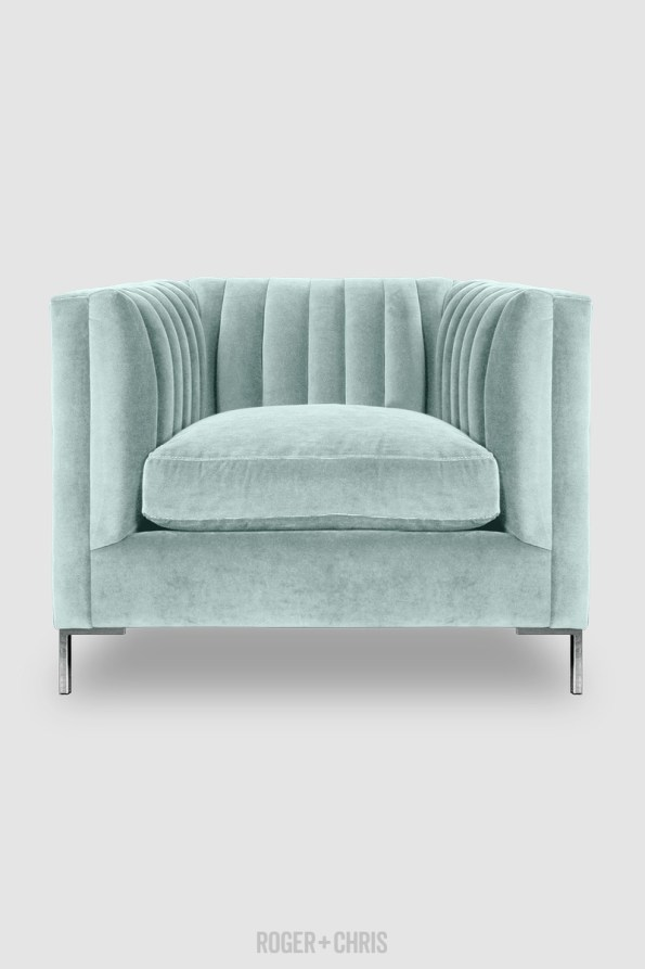 Harley-Channel-Tufted-Chair-in-Crypton-Henry-New-Aqua-performance-velvet-from-Roger-Chris-595x893 5 Looks of Velvet Inspiration for Your Home this Winter
