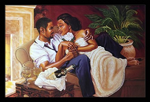 US-Art-Just-The-Two-Of-Us-Romantic-Couples-Katherine-Roundtree-24x36-Black-Framed-African-American-Black-Art-Print-Wall-Decor-Poster Black Art from Katherine Roundtree We Love