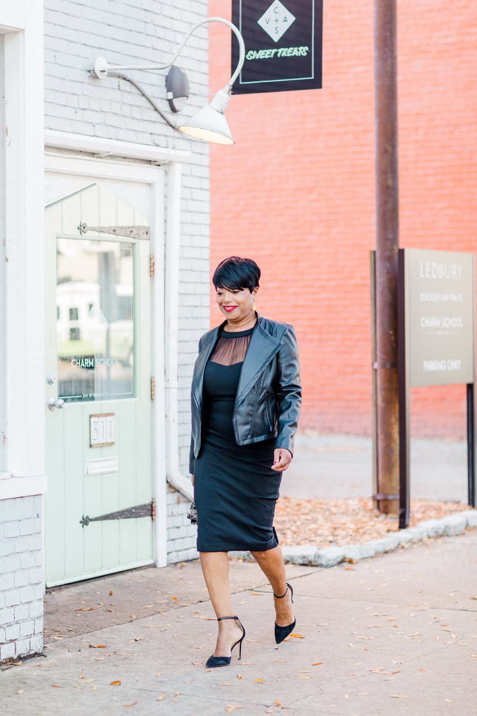 maggy-london-black-dress-macys-leather-jacket Holiday  Entertaining Tips from Black Southern Belle Tastemakers
