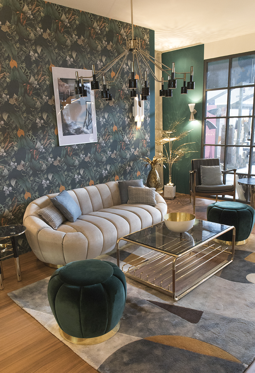 Mid-Century-Living-Room-with-a-Contemporary-Wallpaper-Twist-_-Maison-et-Objet-1-2 Modern Furniture with a Retro Twist for a Southern Home