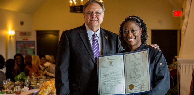 Chef-Harris-and-Rep-Reynolds-North-LA-meal Black Southern Belle Chef Hardette Harris is the Grand Ambassador for Northern Louisiana Cuisine
