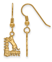 Solid 925 Sterling Silver with Gold-Toned Spelman College Small Dangle Earrings (10mm x 14mm)
