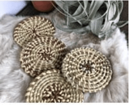 Handmade Gullah Sweetgrass Drink Coasters . Traditional Hand Crafted Folk Art . Natural Woven Home Decor . Made in the USA
