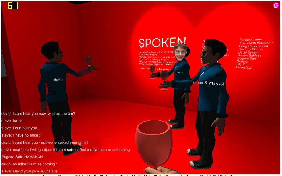 Avatars enjoying a glass of wine at the th eopening of teh SPOKEN virtual exhibition