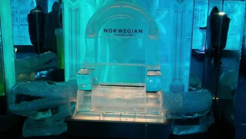 Gator chair made of ice inside the Ice Bar on the Norwegian Getaway