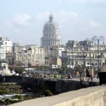 A view of the Cuban Capitol from the malecon.