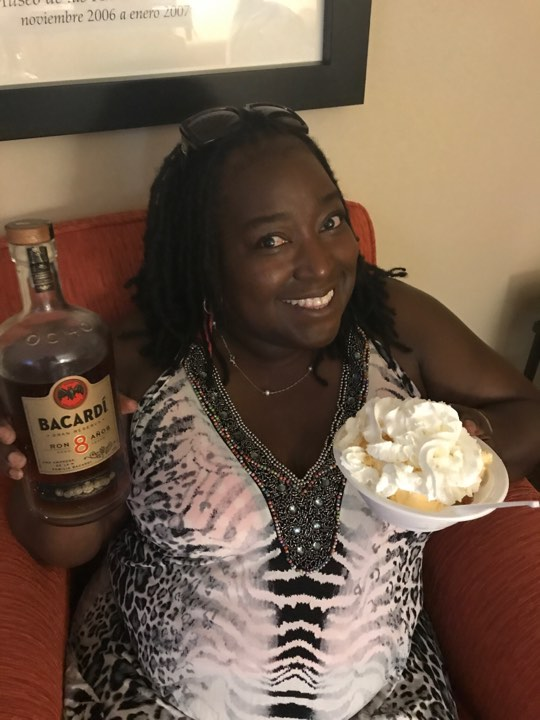 Nikki with Pound Cake, Vanilla Ice Cream with Bacardi 8 and Whip Cream!