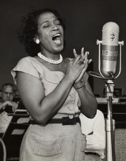 Dorothy  Maynor Singing at Microphone