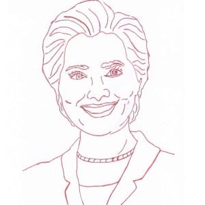 Hillary Clinton Redwork Block Pattern